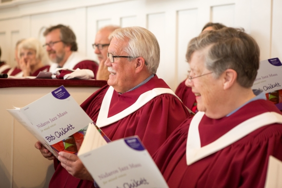 Choir members during rehearsal at the First Congregational Church of Stockbridge