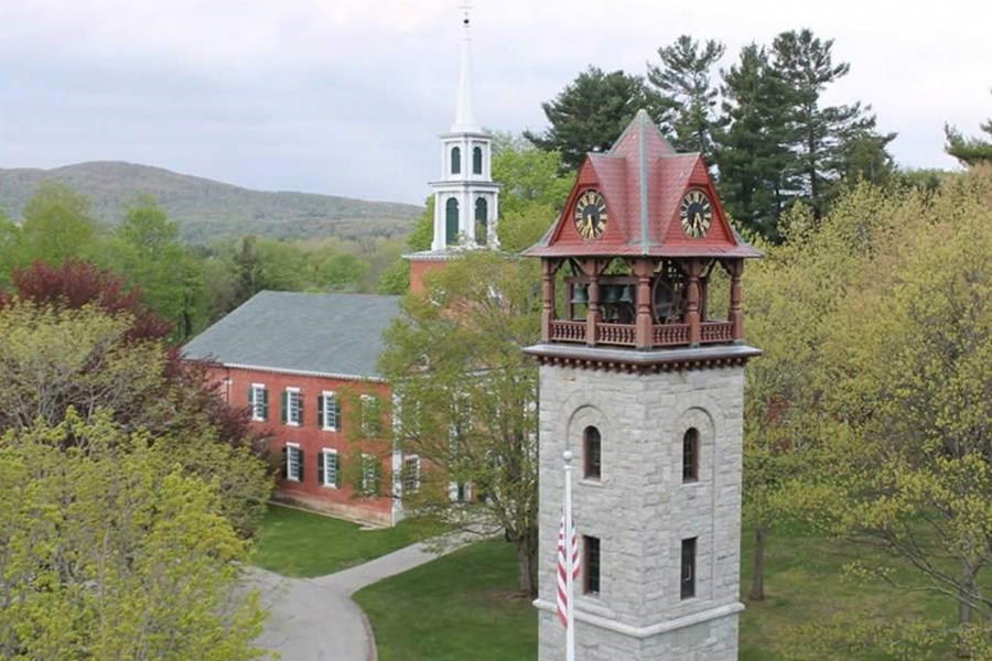 Aerial shot showing the Children's Chimes Tower and First Congregational Church in spring, with the rolling Berkshire Hills in the background.