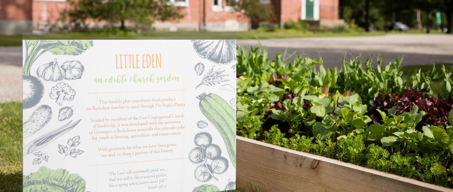 An image of a raised vegetable garden outside of the Stockbridge Congregational Church