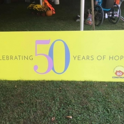 Construct, Inc.'s sign - Celebrating 50 years of hope