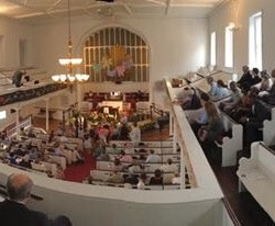 A panoramic view of the packed sanctuary on Easter Sunday