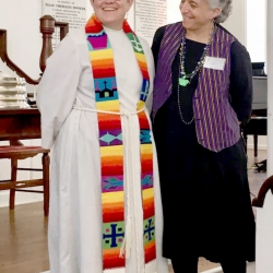 Rev. Patty Fox and a female congregant