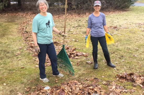 Smiling volunteers with rakes