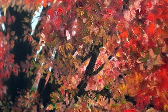 Close up of painted red leaves on canvas
