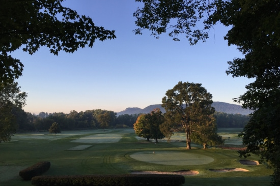 A view of the Stockbridge Golf Club with Monument Mountain in the distance
