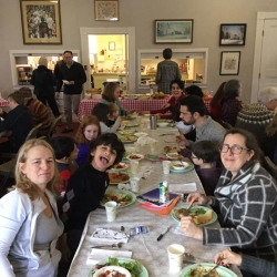 A group of people at a potluck