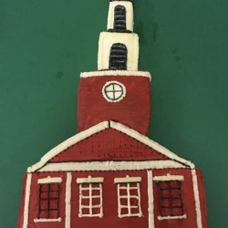 A cake decorated to look like the First Congregational Church of Stockbridge
