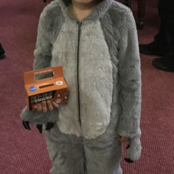 A boy in a wolf costume