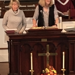 Two volunteers from the Literacy Network of South Berkshire speak to the church about their experience.