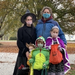 A family of five dressed up for Halloween